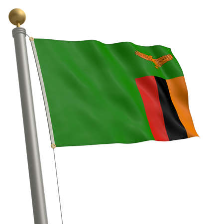flagpole: The flag of Zambia fluttering on flagpole Stock Photo