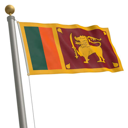 wafting: The flag of Sri Lanka fluttering on flagpole