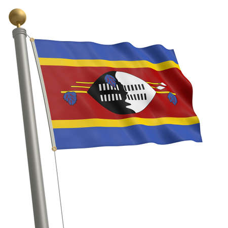 wafting: The flag of Swaziland fluttering on flagpole Stock Photo