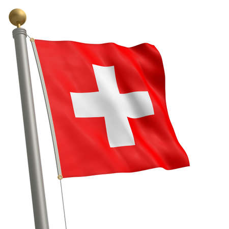 wafting: The flag of Switzerland fluttering on flagpole