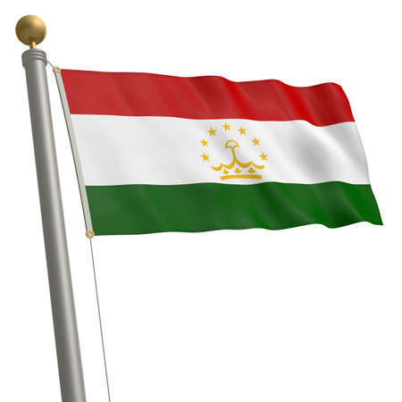 tajikistan: The flag of Tajikistan fluttering on flagpole