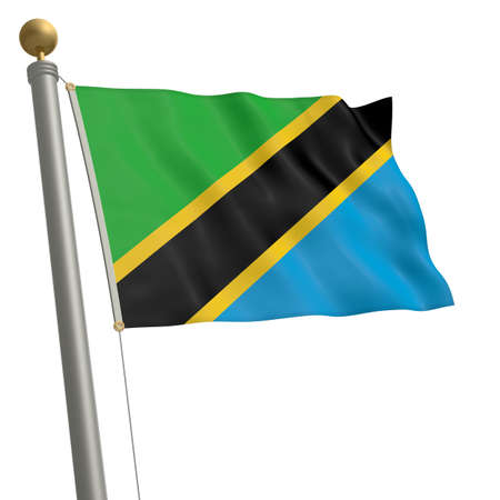 commonwealth: The flag of Tanzania fluttering on flagpole