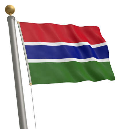 wafting: The flag of The Gambia fluttering on flagpole