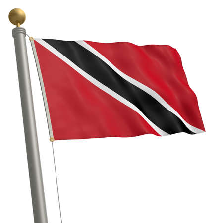wafting: The flag of Trinidad and Tobago fluttering on flagpole Stock Photo