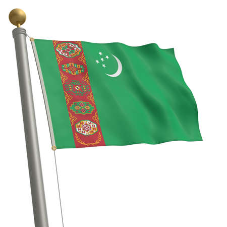 wafting: The flag of Turkmenistan fluttering on flagpole