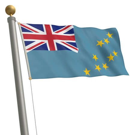 waft: The flag of Tuvalu fluttering on flagpole Stock Photo