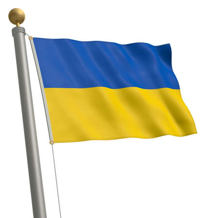 wafting: The flag of Ukraine fluttering on flagpole