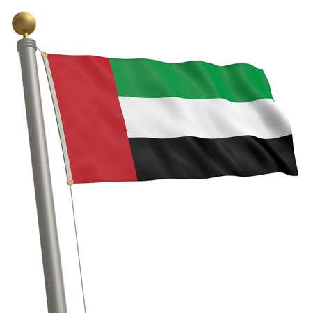 flagpole: The flag of United Arab Emirates fluttering on flagpole Stock Photo