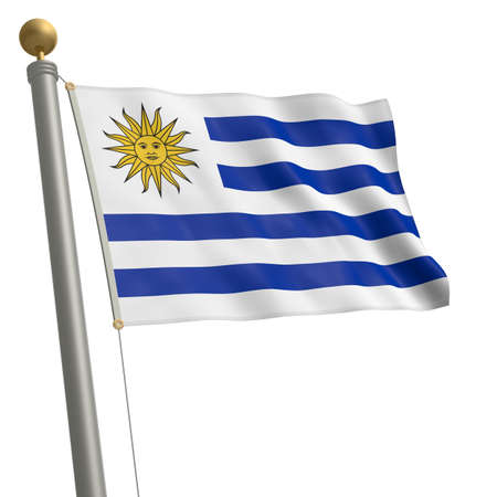 wafting: The flag of Uruguay fluttering on flagpole