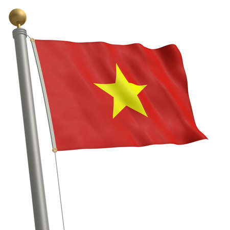 wafting: The flag of Vietnam fluttering on flagpole