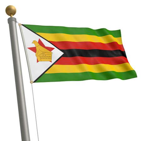 flagpole: The flag of Zimbabwe fluttering on flagpole