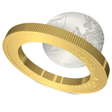 zahlen: Euro in zwei Teile gebrochen