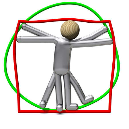 proportions of man: The non-slim Vitruvian Man in rectangle and circle