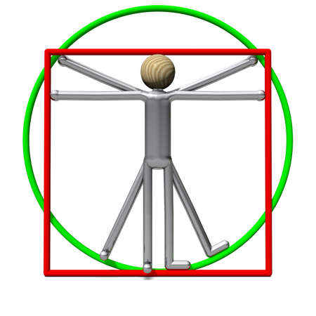 golden rule: The slim Vitruvian Man in rectangle and circle