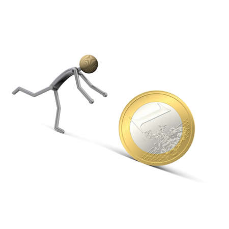 cupidity: manikin runs after a Euro-coin Stock Photo