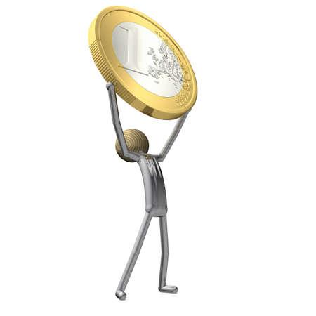 cupidity: manikin raises a Euro coin