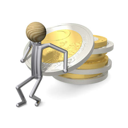 cupidity: manikin stacks a lot of Euro coins Stock Photo
