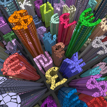 stock market crash: stock market crash: currency skyscraper colored from above