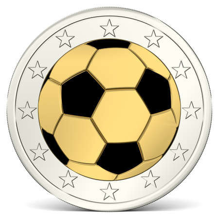 euro coin: Two Euro coin with soccer ball as minting
