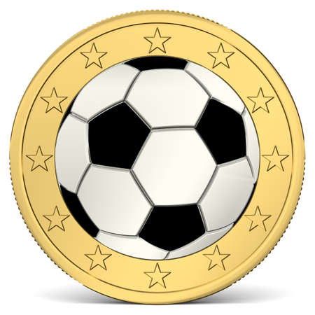 euro coin: One Euro coin with soccer ball as minting