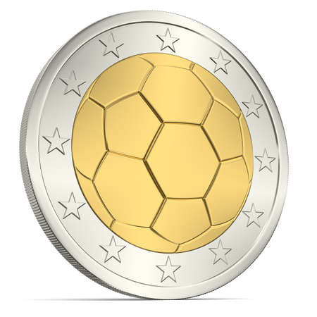 Two Euro coin with soccer ball as minting