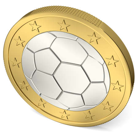 One Euro coin with soccer ball as minting