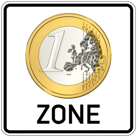 euro area: road sign with euro zone