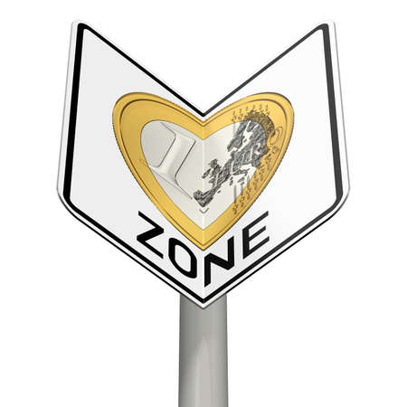 euro area: road sign with euro zone as a heart Stock Photo