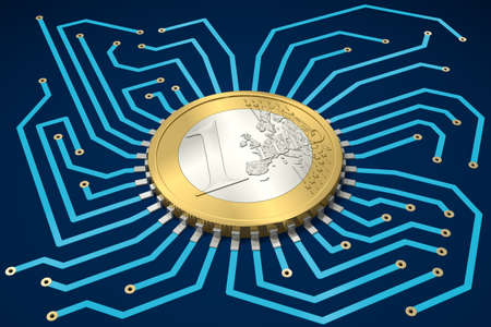 Circuit Board with One Euro as processor Imagens