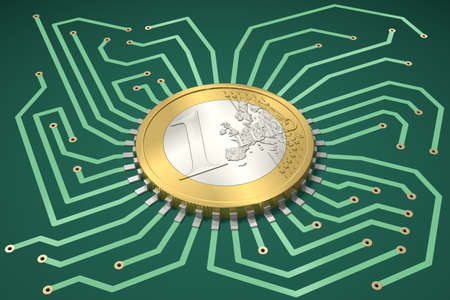 conducting: Circuit Board with One Euro as processor Stock Photo