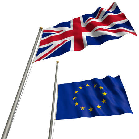 The flag of Great Britain with EU-flag at halfmast after Brexit Imagens