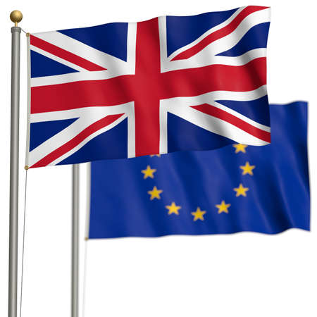 The flag of Great Britain with EU-flag after Brexit