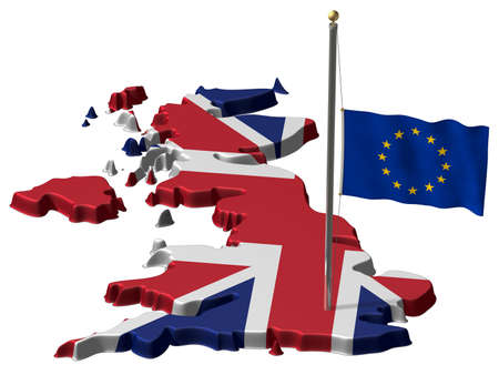 Great Britain and the Flag of the EU at halfmast after Brexit