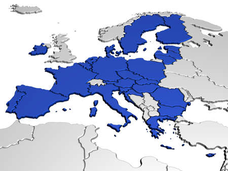 european community: Map of Europe in Blue Stock Photo