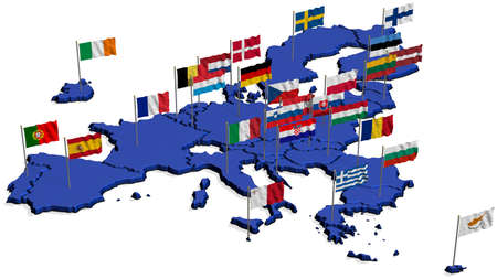european community: Map of Europe in Blue only EU with Flags