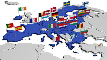 treaty: Map of Europe in Blue with Flags