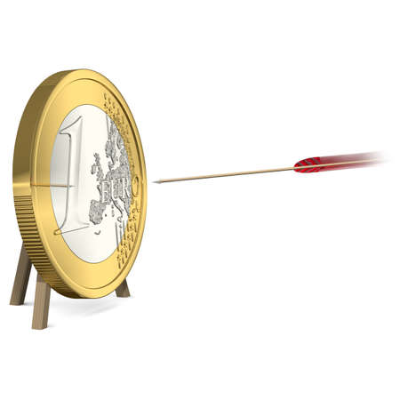 Success - Arrow hits the Euro Coin Target