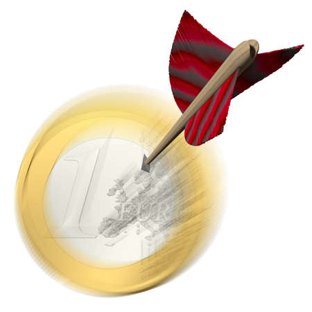 clout: Success - Arrow goes towards Euro Coin Stock Photo