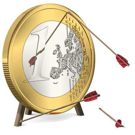 Failure - Arrows do not hit the target Euro Coin