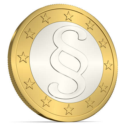 justness: A Euro Coin with Paragraph Sign Stock Photo