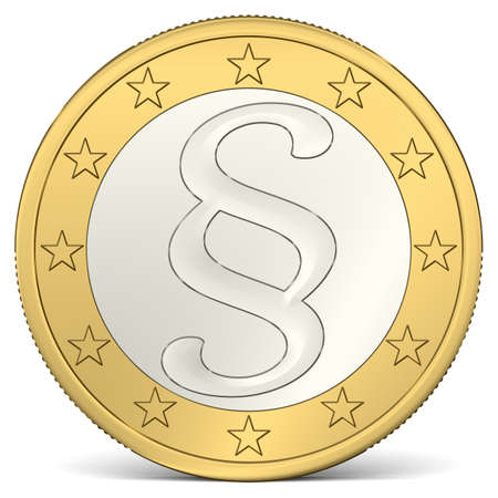 A Euro Coin with Paragraph Sign Imagens