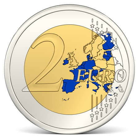 Two Euro Coin with Euro Area in Blue