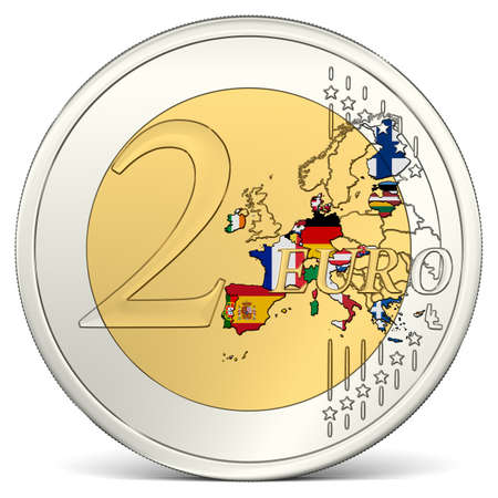 euro area: Two Euro Coin with Euro Area in Flag Colors
