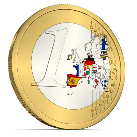 One Euro Coin with Euro Area in Flag Colors Stock Photo
