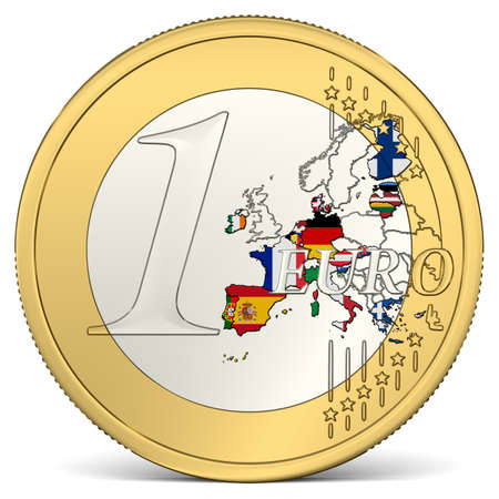 One Euro Coin with Euro Area in Flag Colors Imagens
