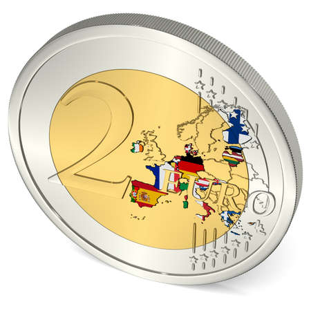 Two Euro Coin with Euro Area in Flag Colors