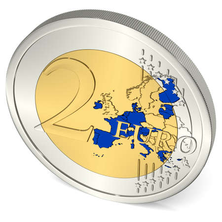 euro area: Two Euro Coin with Euro Area in Blue