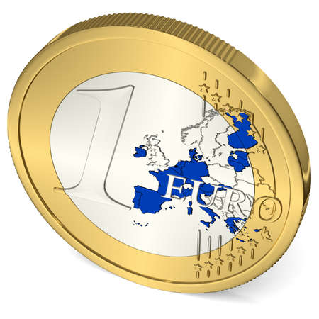 One Euro Coin with Euro Area in Blue