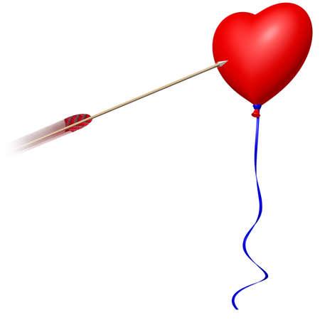 red heart ballon with arrow