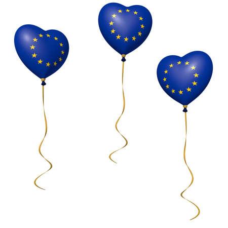 heart balloons with european flag